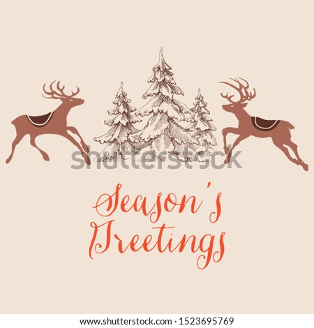 Christmas greeting card, reindeers and pine trees design, Season's greetings text