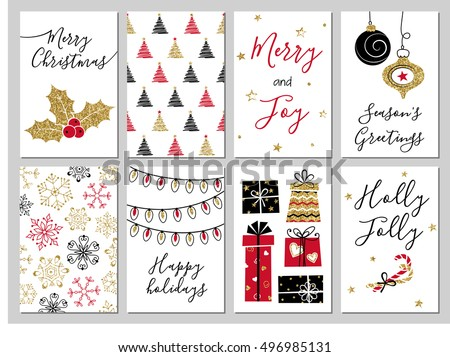 Christmas greeting card set. Gold, black, red, white colors. Gift tags with gold glitter texture. Snowflakes and Christmas tree patterns.