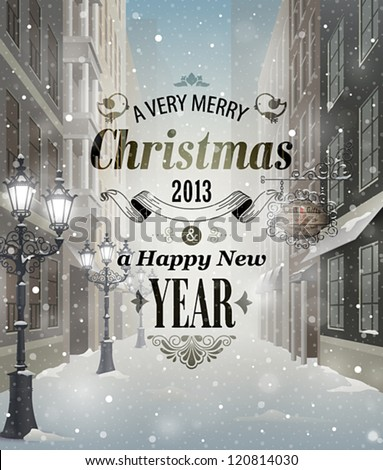 Christmas greeting card - snowy street. - stock vector