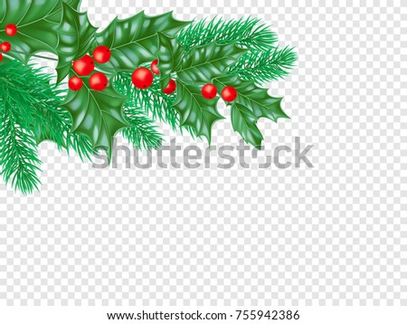 Christmas Party Poster Design Template With Fir Tree Leaves