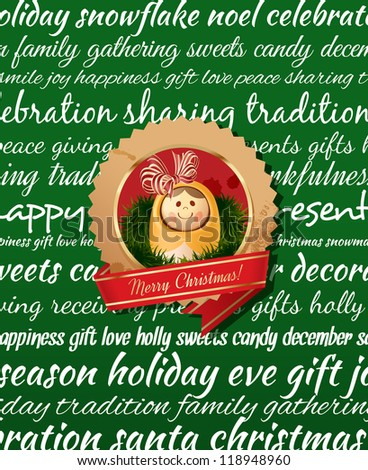 Christmas Greeting Card. Type background & christmas label. Green
