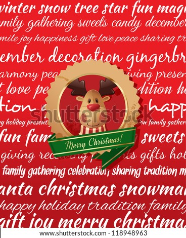 Christmas Greeting Card. Type background & christmas label. Red