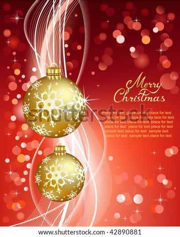 Christmas  on Christmas Greeting Card  Vector Illustration    42890881