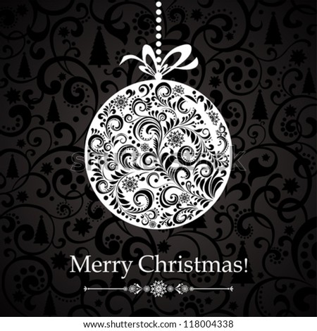 Christmas Greeting Card. Vintage card with Christmas ball. vector illustration