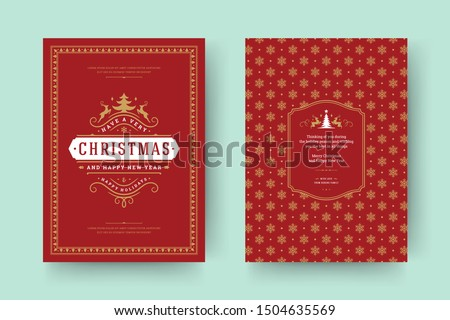 Christmas greeting card vintage typographic design, ornate decorations with symbols, winter holidays wish, ornaments and frame. Vector illustration.