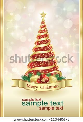 Christmas greeting card with ball and christmas tree