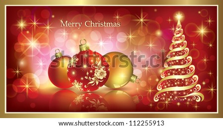 christmas greeting card with balls