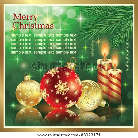 Christmas greeting card with balls and candle over green background