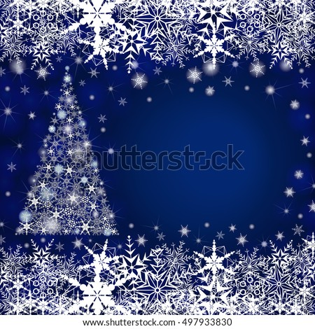 Christmas Greeting Card  With Big Free Space For Your Advertising Or Your Message. Vector illustration. Abstract winter blue background, with stars, snowflakes and Christmas tree. Vector illustration.