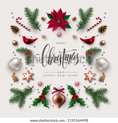 Christmas greeting card with Calligraphic Season Wishes and Composition of Festive Elements such as Cookies, Candies, Berries, Christmas Tree Decorations, Pine Branches. - Shutterstock ID 1192564498