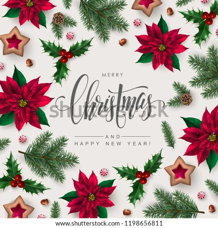 Christmas greeting card with Calligraphic Season Wishes and Composition of Festive Elements such as Cookies, Candies, Berries, Poinsettia flowers, Pine Branches.