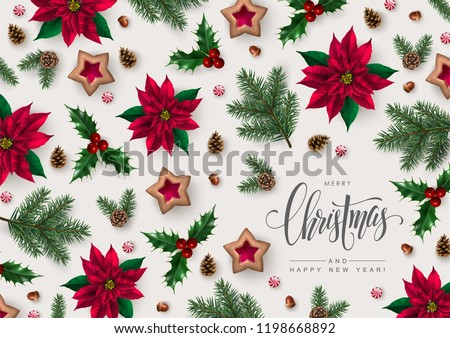 Christmas greeting card with Calligraphic Season Wishes and Composition of Festive Elements such as Cookies, Candies, Pine Branches and Christmas Flowers.