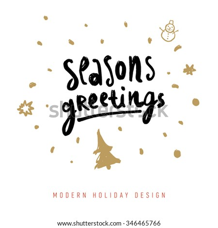 Christmas greeting card with calligraphy elements. Hand Drawn Design and Handwritten Lettering. Holiday Vector Illustration for Xmas Cards.