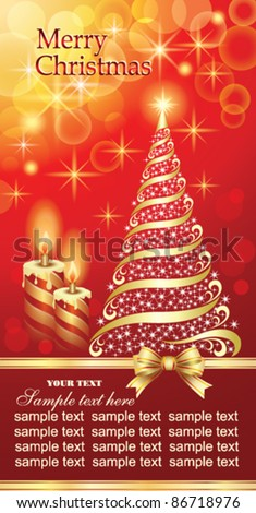 Christmas greeting card with candles and christmas tree on red backround