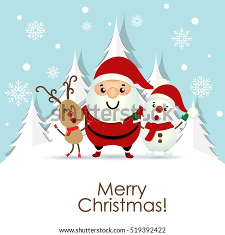 Stock Photo Christmas Greeting Card with Christmas Santa Claus ,Snowman and reindeer. Vector illustration