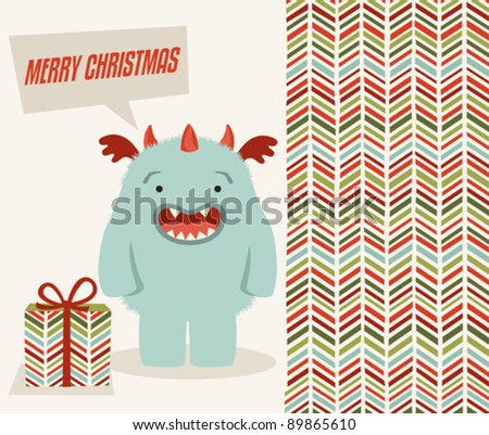 Christmas greeting card with cute monster