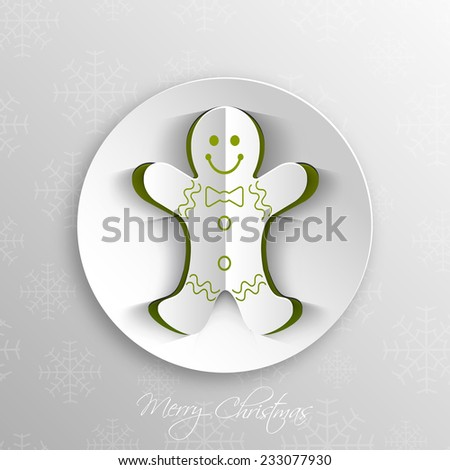 Christmas greeting card with gingerbread man. #233077930