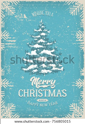 Christmas Greeting Card With Grunge Texture/ Illustration of a vintage christmas postcard, with snow pine tree and grunge textures
