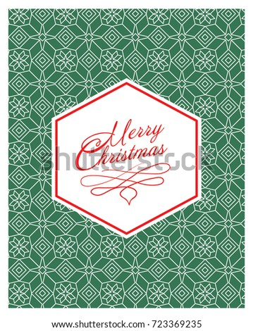 CHRISTMAS GREETING CARD WITH PATTERNED BACKGROUND. Editable vector illustration file.