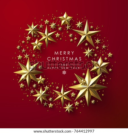 Christmas Greeting Card with Round Frame made of Gold Stars #764412997