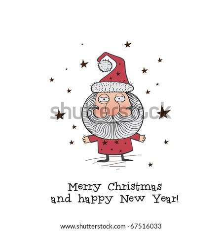 Christmas greeting card with Santa - stock vector