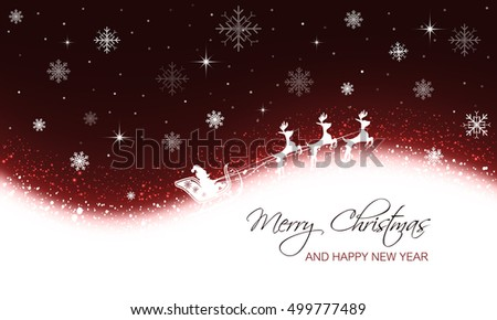 Christmas greeting card with snowflakes, stars and Santa on sleigh with reindeer. Merry Christmas and Happy New Year vector illustration. #499777489