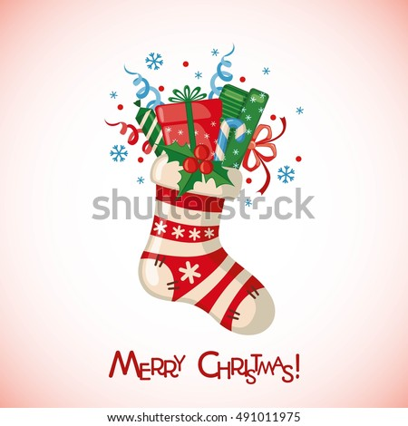 Stock Photo Christmas greeting card with sock full of gifts in flat style. Vector illustration.