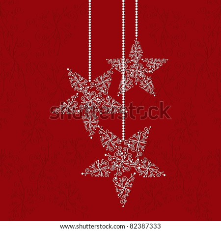 Christmas greeting card with star shape snowflakes and red background