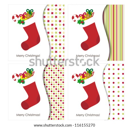 Christmas greeting card with stocking full of presents