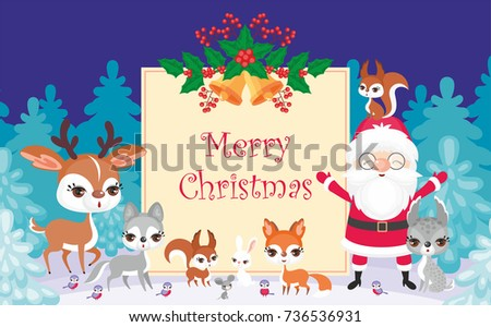 Christmas greeting card with the image of Santa Claus and woodland animals. Vector background. #736536931