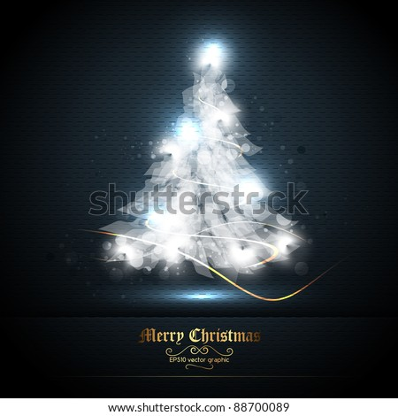 Christmas Greeting Card with Tree of Lights | EPS10 Graphic | Separate Layers Named Accordingly