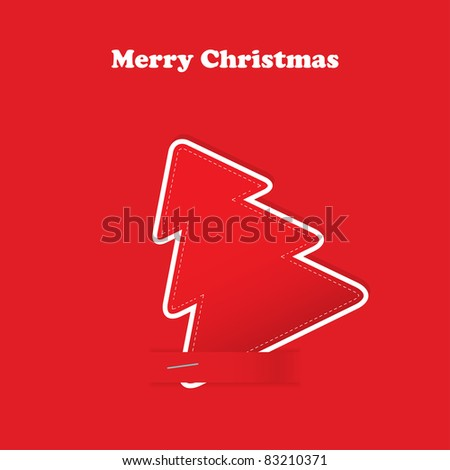 Christmas greeting card with tree on the red traditional background