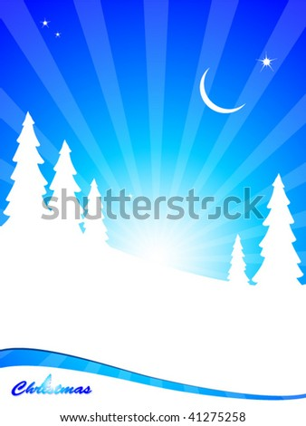 christmas greeting card with trees of snow silhouettes