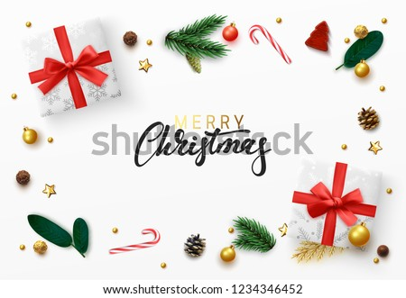 Christmas greeting card. Xmas elements design, white gift box, gold ball, pine branches, candies. Decorative realistic objects. Merry Christmas Calligraphic text. view from above vector illustration