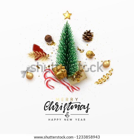 Christmas greeting card. Xmas Festive composition with decorative objects. Calligraphic text. Xmas elements decorations. Creative holiday invitation template top view. Vector illustration