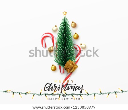 Christmas greeting card. Xmas Festive composition with decorative objects. Calligraphic text. Xmas elements decorations. Creative holiday invitation template. Vector illustration
