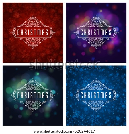 Christmas Greeting Cards Typography Design Set. Christmas lights and Snowflakes Backgrounds. Vector illustration EPS 10.