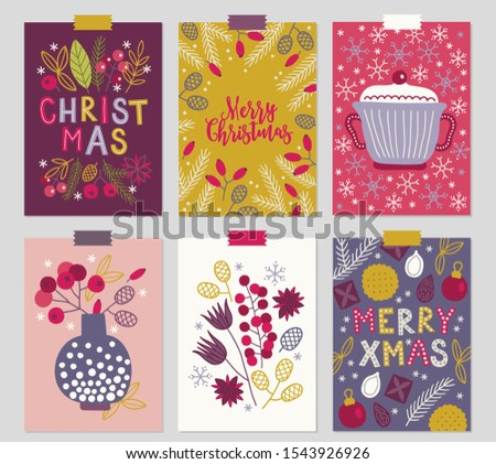 Christmas greeting cards with berry, leaves, branches, vase, snowflakes, cookie, ball, chocolate, cone in Red, Gold, Violet, Pink and White. Perfect for winter holidays and New Year greetings