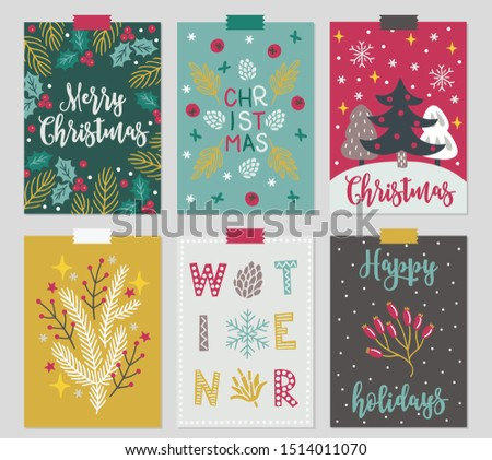 Christmas greeting cards with holly berry, fir branch, snow, snowflake, tree, star, cone in Green, Mint, Red, Gold, Brown and White. Perfect for winter holidays and New Year greetings
