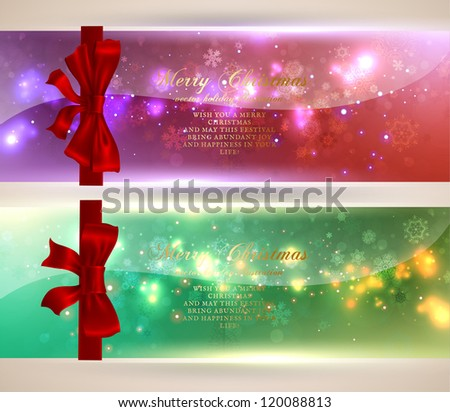 Christmas greeting cards with red bows and copy space for your text. Vector illustration