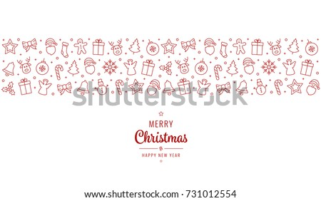 christmas greeting ornament icons element banner red isolated background