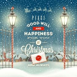 Christmas greeting type design with vintage street lantern against a evening rural winter landscape - holidays vector illustration