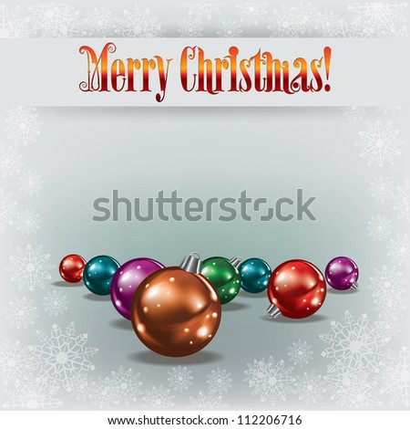 Christmas greeting with decorations on white background