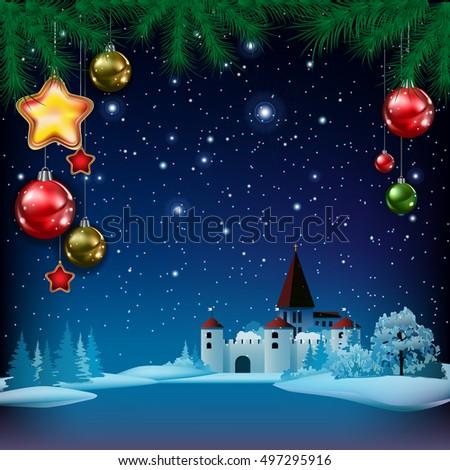 christmas greeting with pine