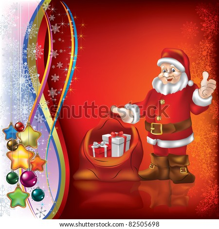 Christmas greeting with Santa Claus on red background