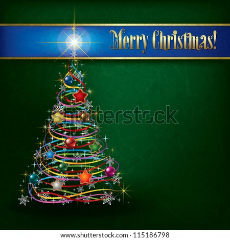 Christmas greeting with tree on green grunge background