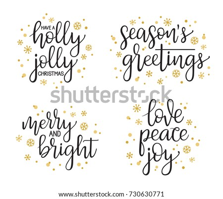 Christmas greetings calligraphic lettering set. Handwriting for cards, gift tags, photo overlays