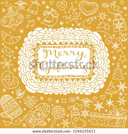 Christmas greetings. Merry Giftmas Golden Greeting card. Greeting calligraphic lettering and New Year Gifts flat doodle icons, patterns, ornaments set.