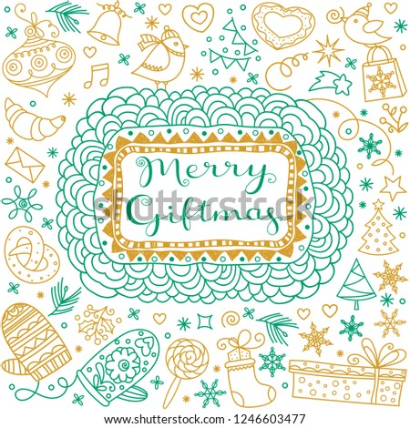Christmas greetings. Merry Xmas gift greeting card. Greeting calligraphic lettering and New Year Gifts flat doodle icons, decorative patterns, ornaments set.