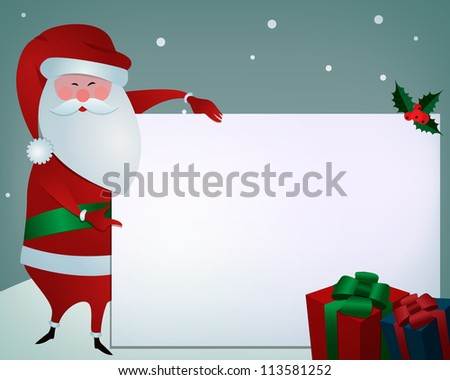 Christmas greetings/Santa holding card for your text